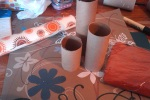 Cut your toilet roll and kitchen roll tubes to the desired height. I used a craft knife.